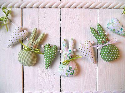 Garland Mobile Bunnies Hearts Dekoration Tilda Shabby Window Hangers Ostern Kinderzimmer