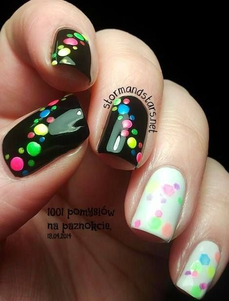 I personally think that this design would be cute or with one nail being white. I love the colorful dots across the black nails and the sort of bokah or translucent dots across the white nails.
