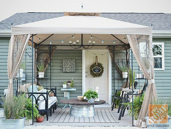 Back patio transformation ... love it! Especially for renting a house that doesn't have a covered patio... you can take it with you when you leave.