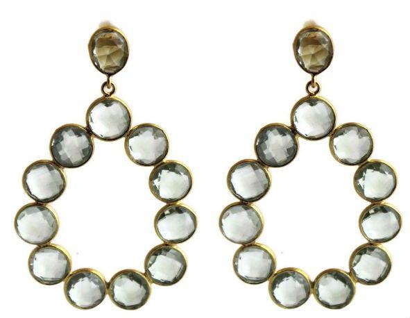 Cecilie Prasiolite Chandelier Post Earrings