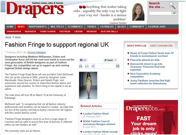 Fashion Fringe Road Show 2012 - Drapers:  Internet Site,  Website, Web Site