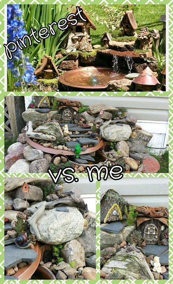 Fairy fountain - spray painted small satellite dishes placed some rocks added a small pump. VIOLA!