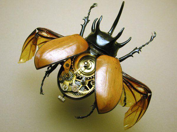 """""""A ideia de equipar os insectos com peças mecânicas surgiu há alguns anos, depois de ter encontrado um escaravelho morto. A beleza do animal e a forma como as suas várias partes se articulavam foram o ponto de partida para este trabalho: Libby esvazia os insectos (no caso dos escaravelhos) e cola no seu interior pequenas peças dos mecanismos de relógios, mas também de componentes electrónicos e até de máquinas de costura e outros aparelhos."""""""
