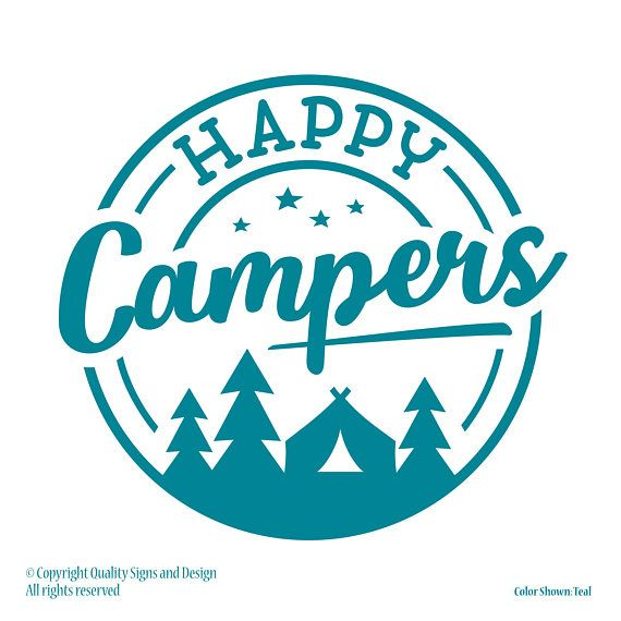 HAPPY CAMPERS, vehicle decals, rv decal, truck decals, car decals, camping signs, camper sign, RV accessories, hiking decal, country decal