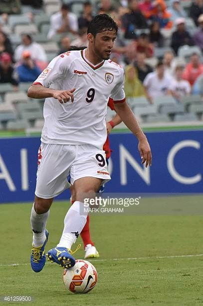 Abdul Aziz AlMaqbali of Oman in action during the first round Asian Cup football match between South Korea and Oman in Canberra on January 10 2015...