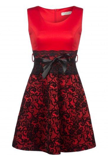 Robe dentelle velours - rouge