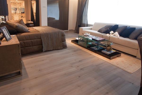 quarto com piso laminado eucafloor elegance nogal gris