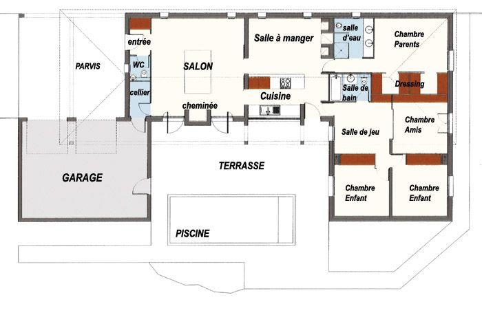 Plan Maison | Plan maison en forme de U avec piscine - Plans de maison à construire