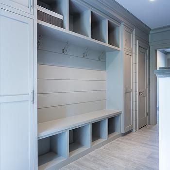 Grey Mudroom Built Ins, Transitional, Laundry Room, Sir Development