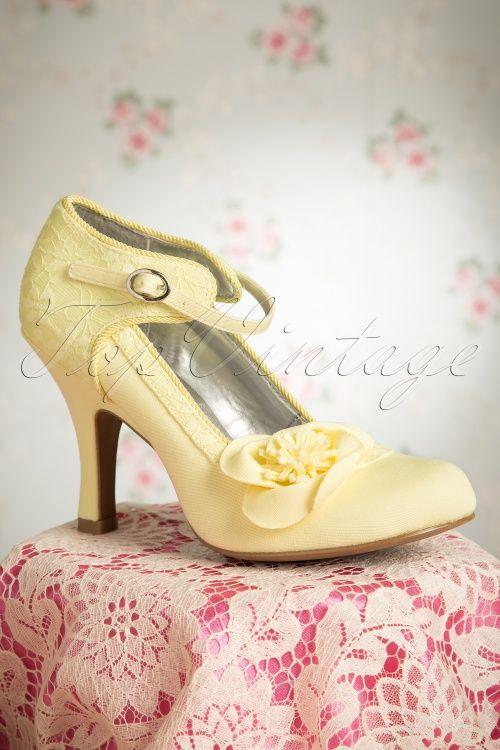 Ruby Shoo - 50s Anna Ankle Strap Pump in Lemon