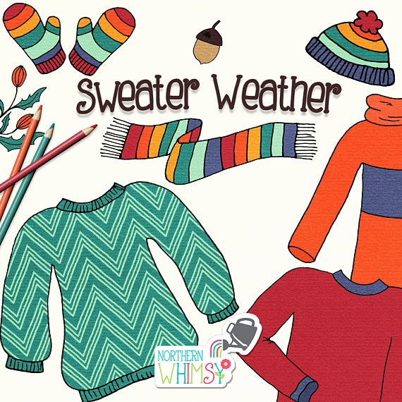 Fall Clip Art - Sweater Weather - hand drawn autumn clothing - sweaters, mitt, scarf, and hat in red, orange, gold & teal - commercial use