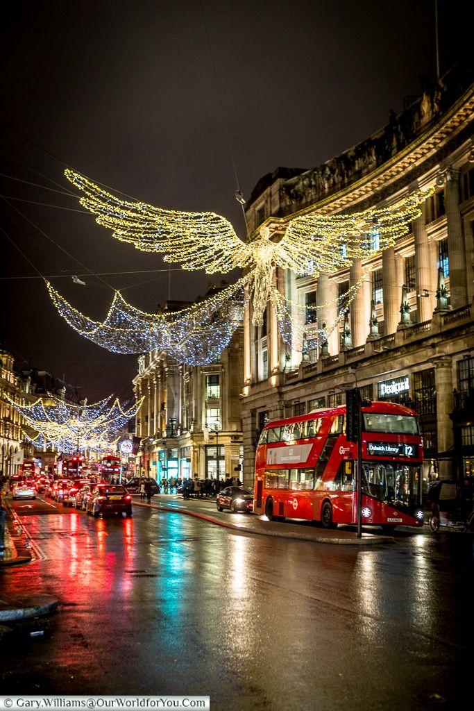 Angels above Regent Street, Christmas, London, England, UK