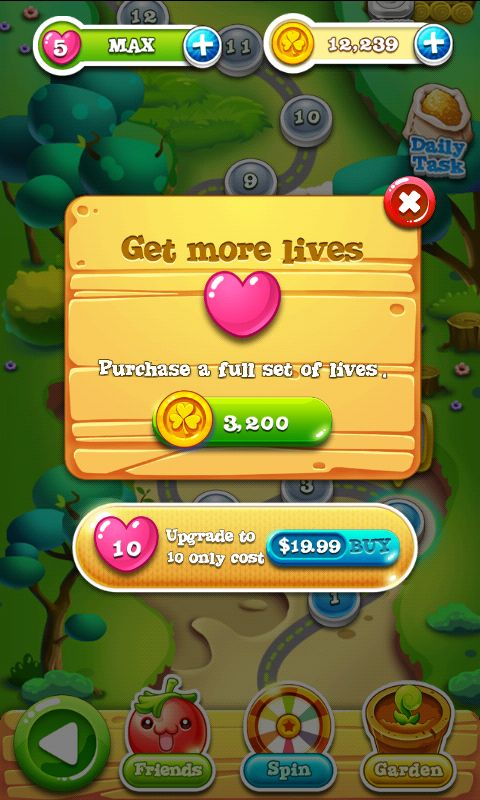 Garden Mania 2 by Ezjoy - Shop Lives  - Match 3 Game - iOS Game - Android Game - UI - Game Interface - Game HUD - Game Art