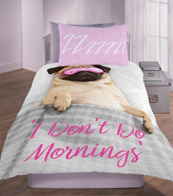 Pink Pug I Dont Do Mornings Slogan Single Duvet Set