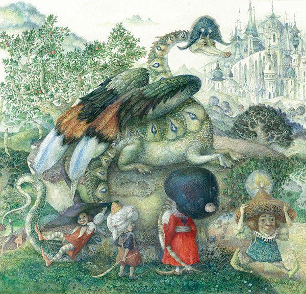 #InnaIndichenko #art #ArtUkraine #Dragon #Aquarelle #fairytail #illustration This is a sample illustration for fairy-tail about little sorcerer-girl and a dragon. Size - 60x30 cm. Aquarelle. (detail)