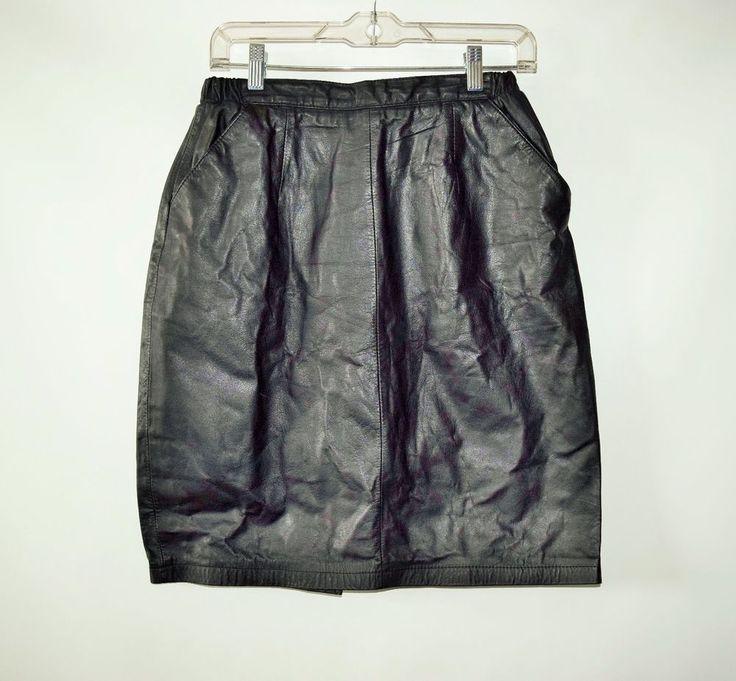 "J Z Black Genuine Leather Womens Straight Pencil Skirt W - 30""  Size 12 #JZ #StraightPencil"
