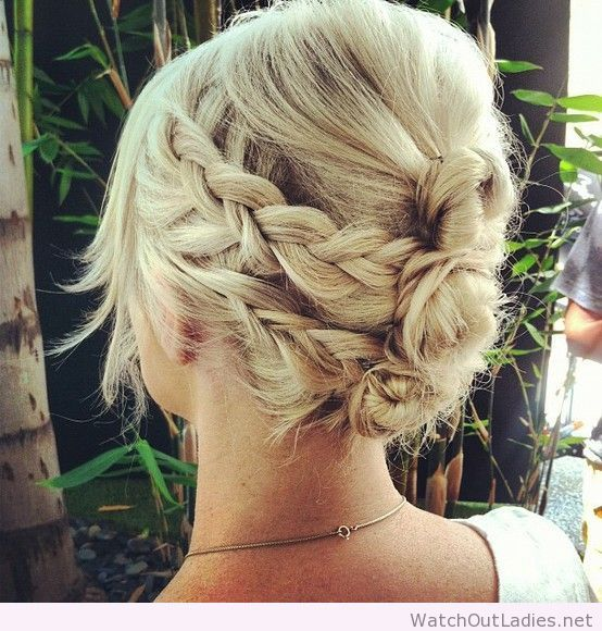 Two braids on each side, wrapped around mini buns