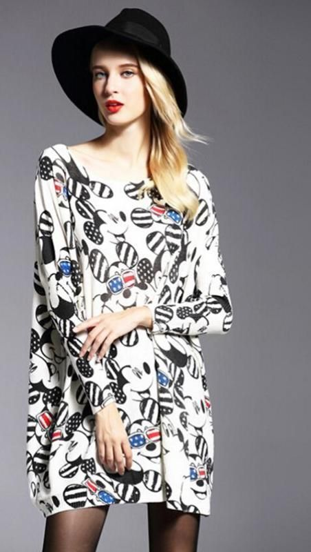 New Mickey Printed Cartoon Pattern Autumn Women Loose Sweaters Knitting Dress Batwing Sleeves Oversized Pullover