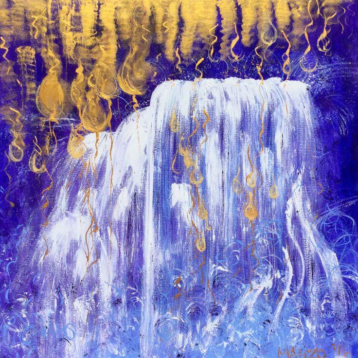 """Open the Floodgates of Heaven"" prophetic art painted live in worship on Resurrection Sunday, King's Church, Gold Coast #artthatimpacts #propheticart #wendymanzoart"