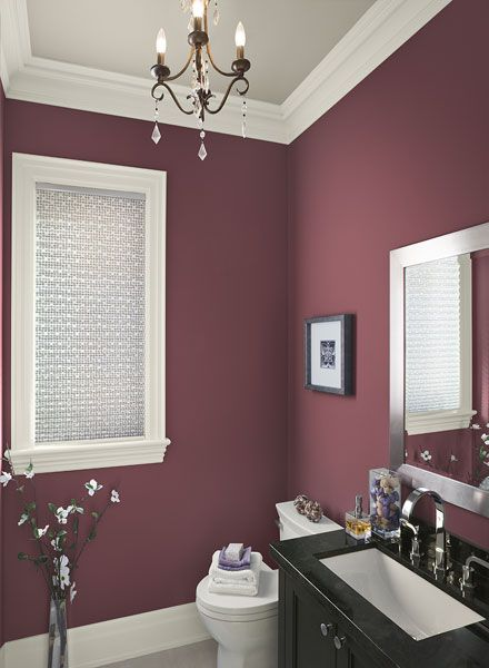 Plum-Red bathroom wall color. People always do blues and greens in the bathroom but this is really beautiful.