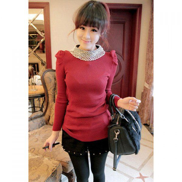 Vintage Bead Embellished Round Neck Slim Fit Puff Sleeve Solid Color Women's Knitwear