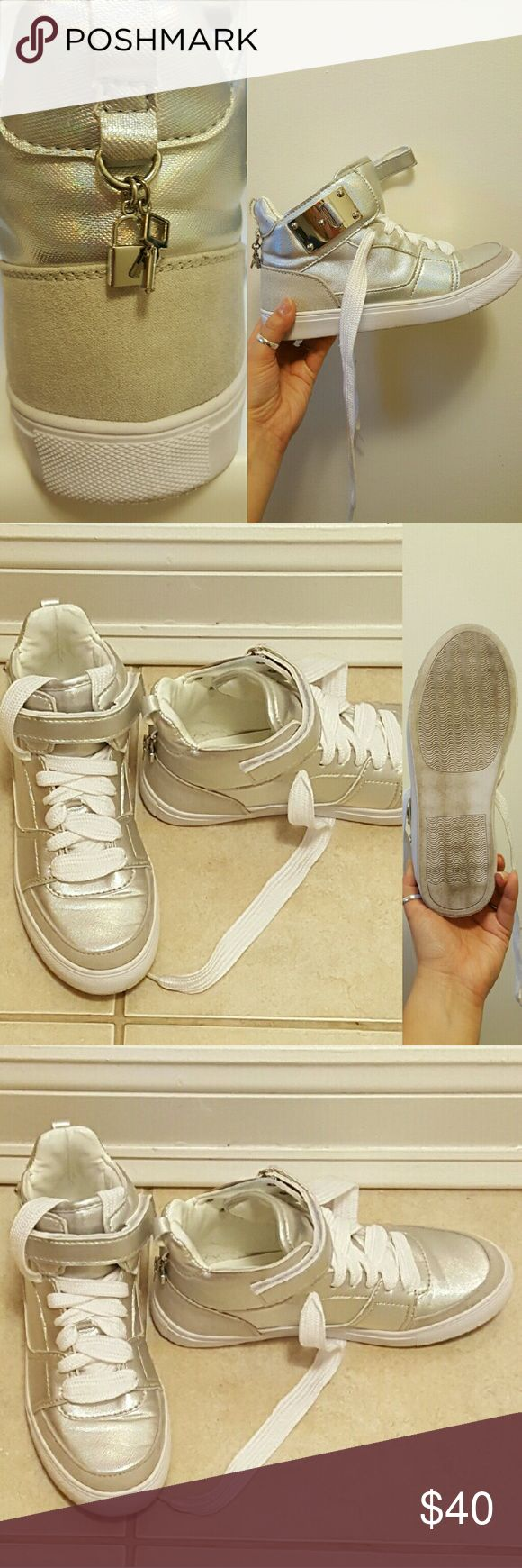 Madden Girl High Too Sneakers Almost new high top sneakers in silver and white Madden Girl Shoes Sneakers