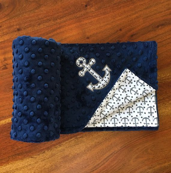 Navy Nautical Anchor Baby BlanketPersonalized by SeasTheDaySewing