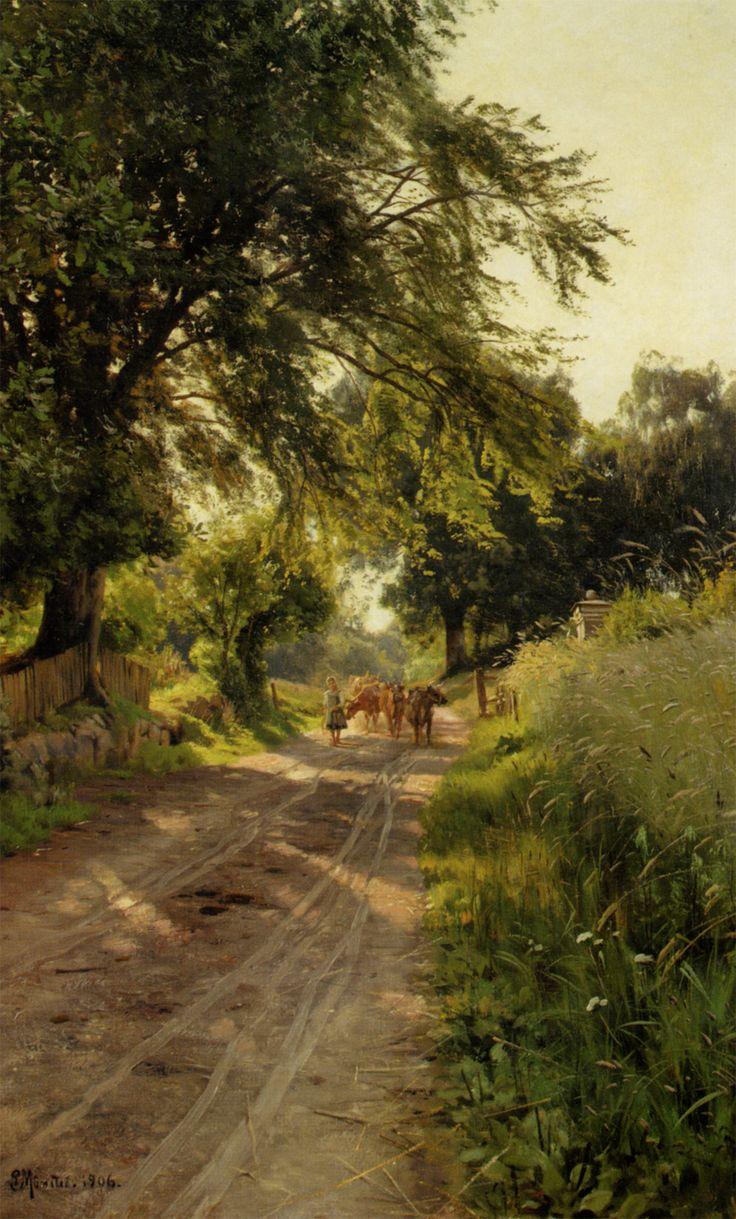 "Peder Mork Monsted 1859-1941 Koerne Traekkes Hjem, Hellebaek 1906, Oil On Canvas 29.53""x33.46"""