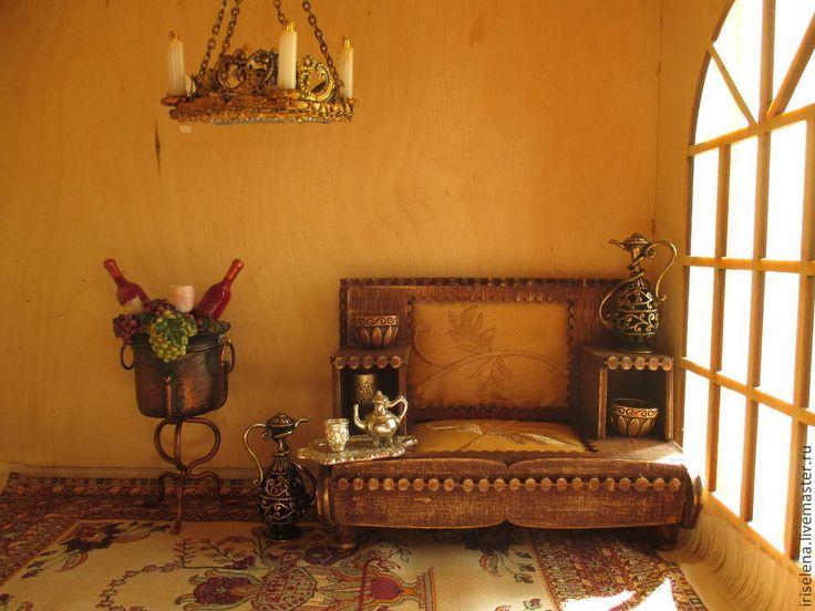 Купить Антикварный диван. Масштаб 1:12 - коричневый, дерево, миниатюра 1 12, Диван для кукол