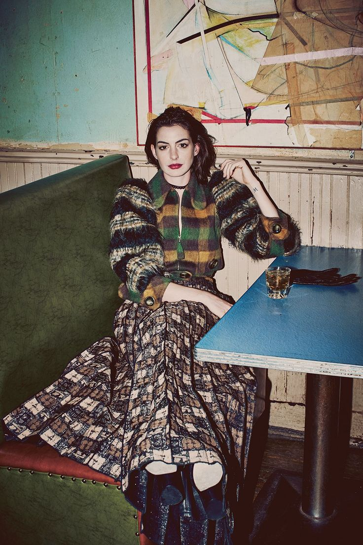 "Anne Hathaway Shows Off The 8 Designers Who Are Flipping The ""Pretty"" Script #refinery29  http://www.refinery29.com/anne-hathaway-fashion-shoot#slide-15  Marc Jacobs Jacket, Skirt, Shoes, and Gloves...."