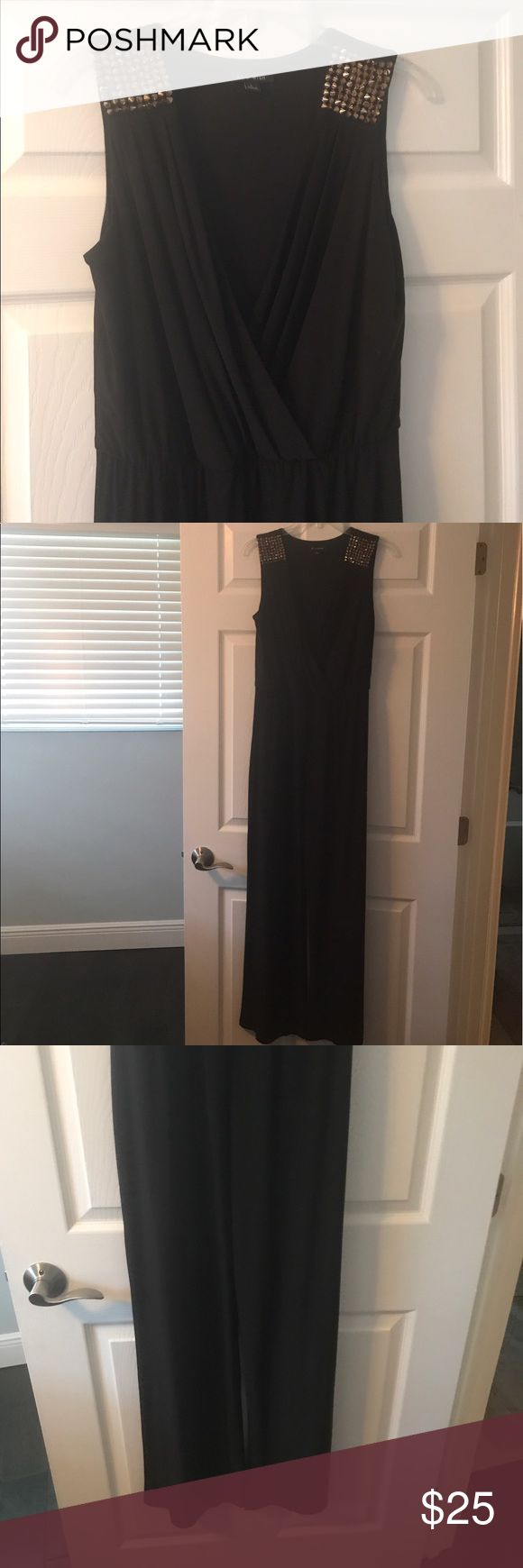 """Sexy pantsuit / jumper with metal spike/studs Surplice wrap plunging v neck jumpsuit with trendy mixed metal spikes on shoulders. Belt not included. 32"""" inseam, bottom opening of wide legs are approx 11 1/2"""" across (like a palazzo pant) approx 13"""" rise from crotch to elastic waist.  96% polyester/4% spandex. Sized as large but feel this fits a medium (8-10) better. Very flowy and drapes so nicely!  Any other measurements/questions needed don't hesitate! As U Wish Pants Jumpsuits & Rompers"""