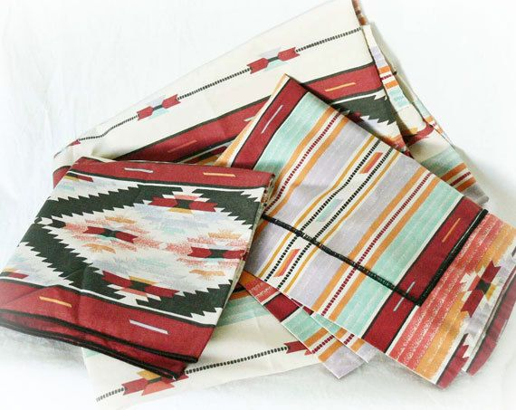 Vintage Southwestern Twin Sheet Pillow Case Sham Set - PaddywhackKnickKnack, $40.00