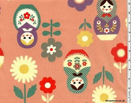 Russian Folk Dolls Pink, Trefle by Kokka Japanese Import Fabric