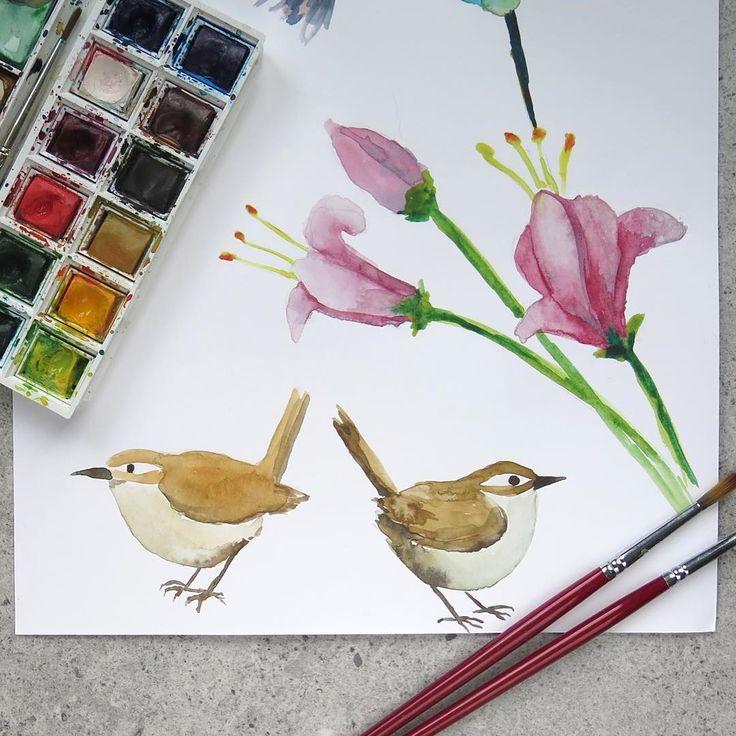 """Polubienia: 132, komentarze: 4 – Paulina Weiher @theCieniu (@paulinaweiher) na Instagramie: """"Ćwiczę malowanie z tutorialem na YouTube @mindofwatercolor i kilkoma innymi twórcami 🖌💚 ➡️…"""""""