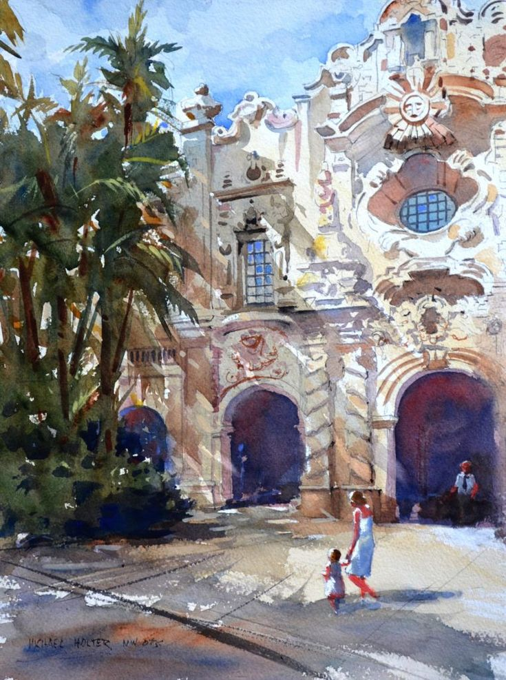 December / January Watercolor architecture, Painting