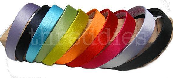 1 wide satin headbands / alice bands  12pc  choose by threddies