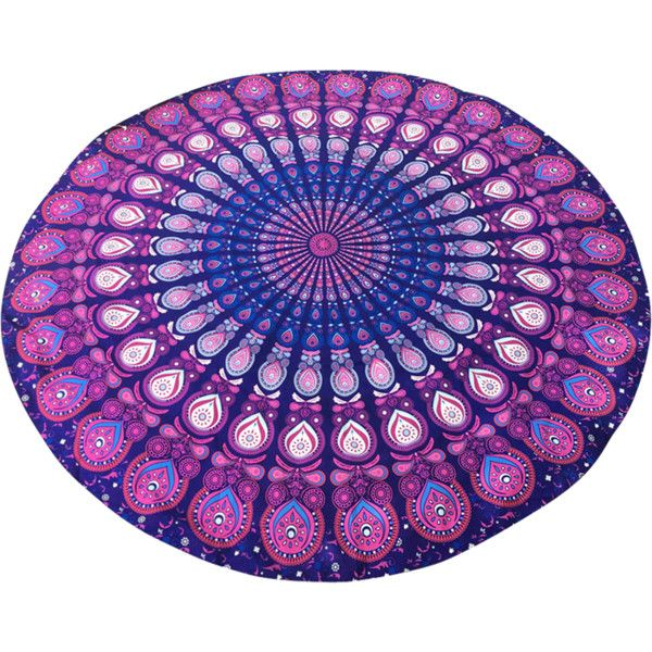 Arab Print Round Beach Throw Purple ($11) ❤ liked on Polyvore featuring home, bed & bath, bedding and blankets