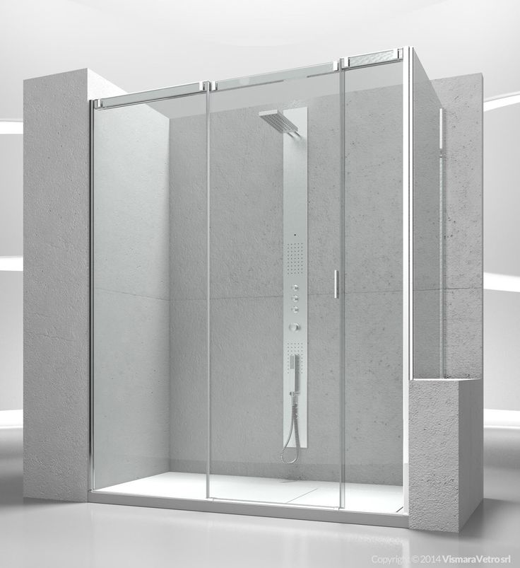 Sliding shower enclosure with fixed panel for shower tray positioned next to a bath tub or a low wall. Shower enclosures Slide by @vismaravetro | V3+VP
