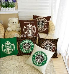 Online Shop European Style Starbucks pillow case pillow covers sofa cushion cover home decoration 2 pcs /lot|Aliexpress Mobile
