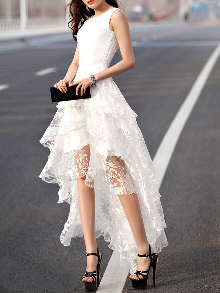 White Floral Print Gauze Panel Multi Layer Sleeveless Hi-lo Dress   Choies