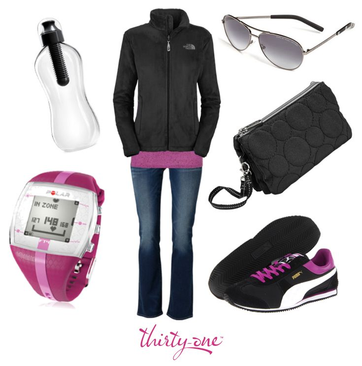 Looking laid back and lovely with a Thirty-One Black Quilted Dots Vary You Wristlet, stylish water bottle and some cool shades!