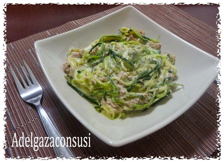 Recetas Light - Adelgazaconsusi: Espagueti de calabacín con atún y nata ligera
