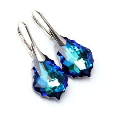 Srebrne Kolczyki Swarovski Baroque Bermuda Blue. Srebro p.925 #earrings #kolczyki #Swarovski