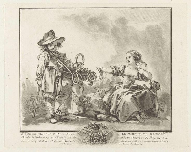 Louis Marin Bonnet   De koekverkoper, Louis Marin Bonnet, François Boucher, Louis-François de Bausset, 1757 - 1763   Een jongen met een mand met ronde koeken. Een meisje, zittend op een steen, een koek in haar linkerhand en een buidel met geld in haar rechter. Een klein hondje springt tegen haar op, kijkend naar de koek. Onder de voorstelling een vier regels tekst in het Frans en een wapenschild.