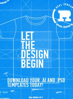 Download our FREE t-shirt templates today! You can use them to mock up your shirt (front & back) and tags! The templates are available in both Ai & PSD.     http://www.realthread.com/file-templates