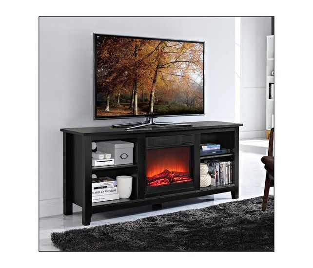 Walker Edison Tv Console With Electric Fireplace For Most Flat Panel Tvs Up To 60 Black