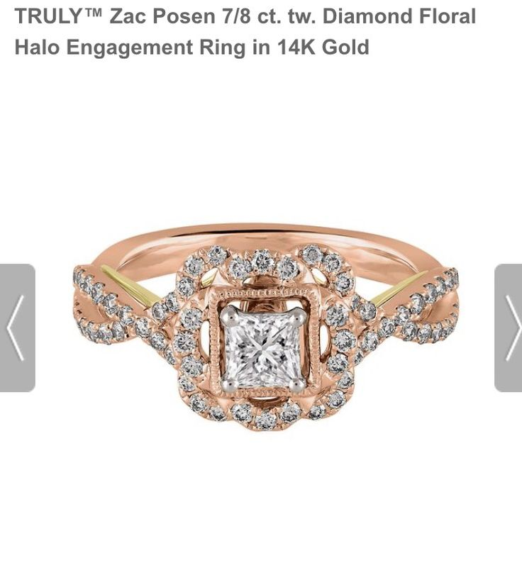 Truly By Zac Posen Floral Halo Engagement Ring In Rose