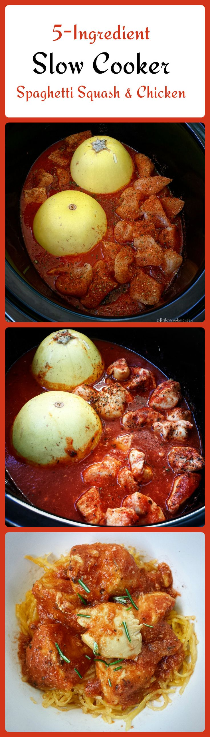 Spaghetti squash and chicken cook together along with your favorite marinara/pasta sauce in this easy slow cooker meal. This is a great low-carb alternative to pasta night. You can substitute meatballs for the chicken breasts.