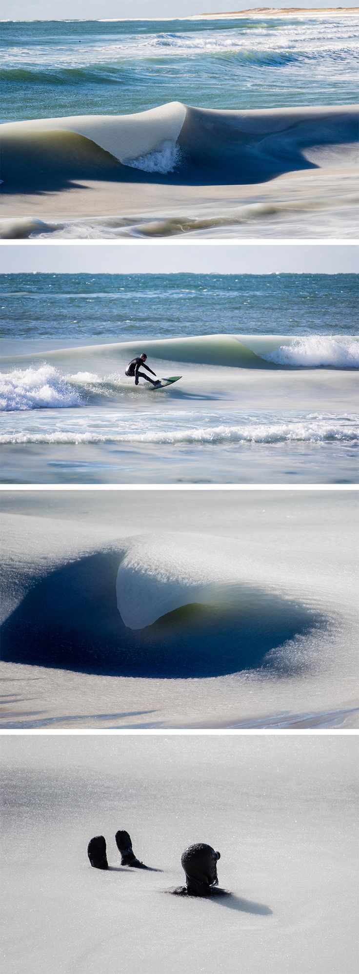 Nearly Frozen 'Slurpee' Waves Surge off the Coast of Nantucket