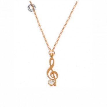 """Ένα μοντέρνο κολιέ από ροζ χρυσό Κ9 με το μουσικό κλειδί του """"σολ"""" και ένα μικρό μονόπετρο ζιργκόν.Αποστολή εντός 24 ωρών. Συνοδεύεται από εγγύηση ποιότητας #σολ #νοτα #μονοπετρο #χρυσο #κολιε"""